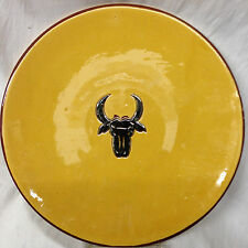 MULL POTTERY BULL STEER HEAD IN CENTER MUSTARD YELLOW BACKGROUND BROWN TRIM 11""