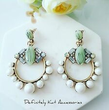 Statement light green, white crystal & pearl round cocktail chandelier earrings