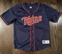Vintage Minnesota Twins MLB Baseball Blank Blue Jersey Mens Size Medium Sewn VTG