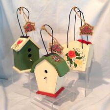 Jim Shore Wood Ornaments 3/Lot Heartwood Creek 2 Birdhouses & 1 Mini Bag $22.99
