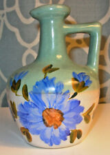"""5"""" Tall Vintage Jug Green & White Body With Blue & Green Floral Design No Brand"""