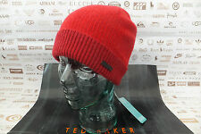 TED Baker TURN-UP Beanie Kersey Red Cap si intrecciano Stitch Cappellino di lana BNWT RRP £ 40