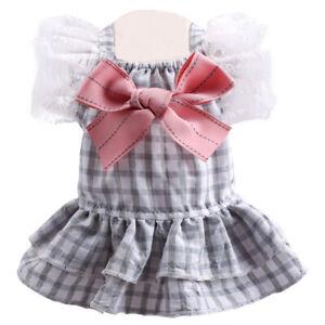 Summer Pet Dog Dress Clothes Cute Bow Stars Plaid Princess Skirt Puppy Cat Dress