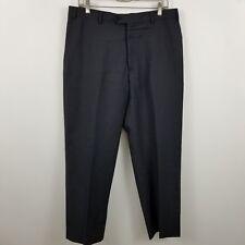 Armani Colleczioni Mens Flat Front Dark Blue Striped Wool Dress Pants Sz 34 x 28