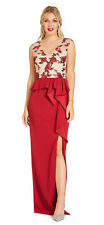 Adrianna Papell Crimson/Nude Draped Column Gown with Embroidered Bodice  Gown  2