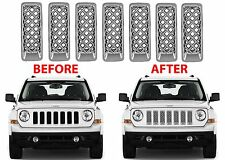 7pc Chrome Mesh Grill Inserts For 2011-2017 Jeep Patriot New Free Shipping USA