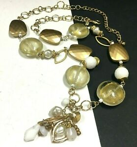 New CHICO'S Long Satin Gold PL Glass Bead Necklace Pearl & White Beads OO153o