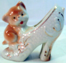 Vintage ART POTTERY Puppy on Gold Trimmed LADIES SHOE from Japan