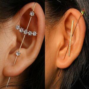 2Pcs Bohemia Cubic Zirconia Earrings Ear Wrap Crawler Hook Women Wedding Jewelry