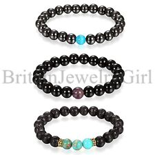 3PCS Set Mens 8MM Black Beaded Bracelet Healing Energy Stretch Elastic Bracelet