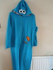 sesame street cookie monster blue Elmo costume pajamas outfit Adult Large