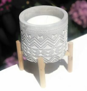 Celtic Design Antique Style Stone Candle Holder  With Wooden Base