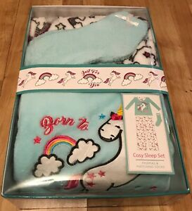 Born To Sparkle - Unicorn - Cosy - Boxed Pjs & Matching Socks - 16-18 -Brand New