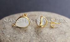 White Chalcedony 9x12mm Pear Faceted 925 Sterling Silver Gold Plated Earrings