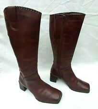 "PIKOLINOS BROWN LEATHER MID CALF SQUARE TOE BOOTS 2"" HEEL EU40 UK7 FREE UK P&P"