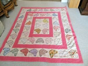 """Older 74"""" x 63"""" Applique Various Butterfly Quilt Comforter-White Backing"""