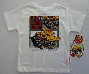 NWT Tonka 7 Boys 1996 Sportswear White Tee Truck Work VTG Built Tough Hasbro USA