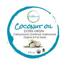 8 oz Organic Extra Virgin Coconut Oil FAIR TRADE Unrefined Unbleached glass jar