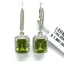 14K White Gold Peridot Diamond Hoop Dangling Earrings