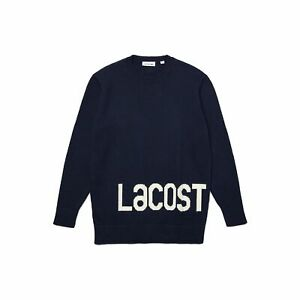 Lacoste AF7678 Women's Lettered Wool And Cotton Sweater, Navy