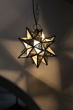 """Moravian Star 9.5 inch"""" antique mirror and clear glass star antique bronze trim"""