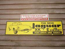 "JAGUAR XKE DEALER/SERVICE SIGN/AD EARLY XKE GRAPHIC 1'X46"" ALUMINUM GARAGE ART"