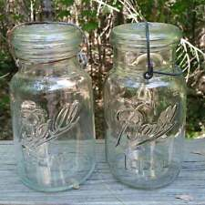 2 Vintage BALL IDEAL QUART Canning Freezing Jars Dimple & Full Neck Wire, Lot #3
