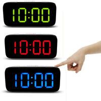Digital LED Alarm Clock Big Screen Snooze USB/Battery Powered Voice Control