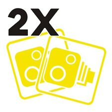 2X Car CCTV Camera Icon Lemon Yellow Car Van Taxi Window Bumper Sticker Dash Cam