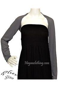 Hayaa ~ PLUS Size Hijab Muslim 1-Piece Sleeves Arm Cover Shrug Bolero~ Dark GRAY