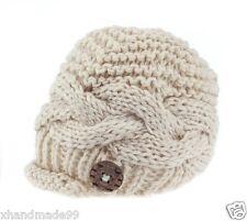 hand-knitted Baby Boy Hat Newborn 0-3 month Infant Newsboy Great Photo Prop