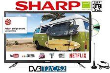 """Sharp 24""""Zoll 60 cm LED Full HD TV 12V & 24V & 230V DVB-C/S2/T2 HD DVD-Player"""