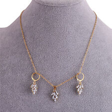 Women's Fashion Jewelry Set Gold Plated Rhinestone Leaf Earring Pendant Necklace