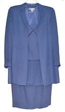 Anne Klein Petite Blue Rayon Swing Blazer Shell & Skirt 3 Pc Womens Suit Sz 4P