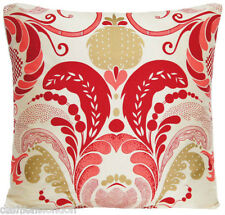 "Fernery Cushion Cover Silk Fabric Osborne and Little Red Gold Printed 16"" Square"