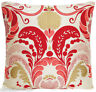 """Fernery Cushion Cover Silk Fabric Osborne and Little Red Gold Printed 16"""" Square"""