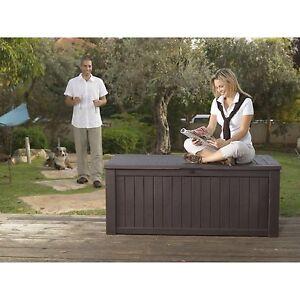 Keter Rockwood Plastic Garden Storage  Deck Box 570 Litre Capacity XL BROWN