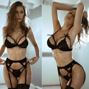 Women Sexy Lingerie Lace Bra G-String Set Babydoll Underwear Sleepwear