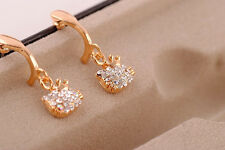 NEW Hello Kitty Gold Crystal Dangling Dangle Earrings