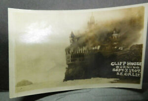 U.S.A. Early RPPC, Burning Of The Cliff House, 1907, San Francisco, Ca