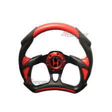 320mm JDM Black Red PVC Leather Battle Type 6 Hole Bolt Racing Steering Wheel