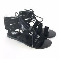 Office Size UK6 Black Leather Suede Open Peep Toe Gladiator Holiday Sandals shoe