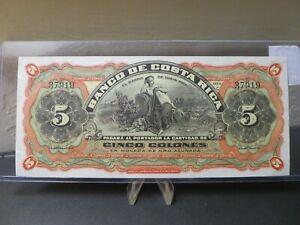 1901-1908 Banco De Costa Rica Cinco Colones No.37919 Unsigned Remainder S173R $