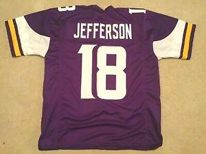 UNSIGNED CUSTOM Sewn Stitched Justin Jefferson Purple Jersey - M, L, XL, 2XL