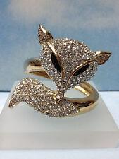 FOX BIG ANIMAL GOLD BANGLE CUFF BRACELET  w/ SPARKLING WHITE STONES & BLACK EYES