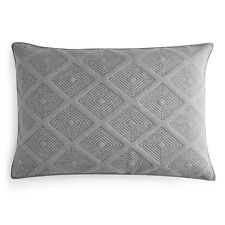 New Oake Bedding Astor Cotton Quilted King Pillow Sham Charcoal Grey $100 D1555