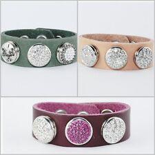 Druckknopf Button Click Leder Armband Beere Pfirsich Grau Grün passend für Chunk