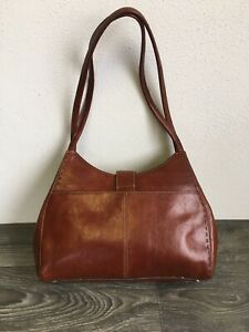 Fossil Leather Purse Hand Bag Shoulder Tote Brown Snap Clasp Small/Med