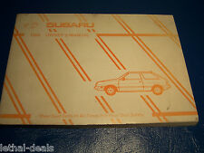 1989 SUBARU Hatchback Owners Manual  MSA5M8903B  1.6L  1.8L NEW NOS
