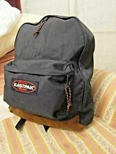 Vtg 90s Eastpak Spell Out Suede Leather Bottom Backpack Book Bag BLACK USA